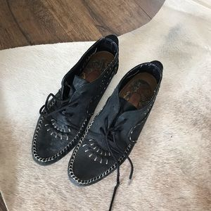 Black Suede Leather Hush Puppies Shoes